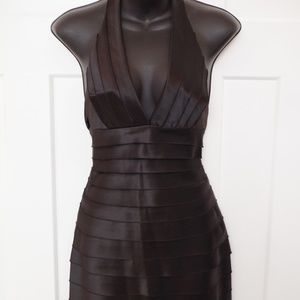 BCBG Black Banded Satin Halter Dress- Size 0